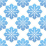 Winter semless pattern with blue snowflakes