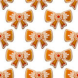 Christmas gingerbread bows seamless pattern