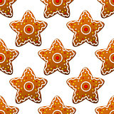 Gingerbread stars seamless pattern