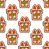 Gingerbread gifts and presents seamless pattern