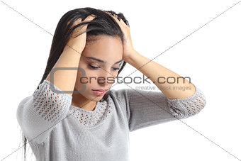 Arab woman worried with the hands in the head