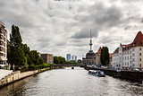 View on River Spree Embankment and Berlin TV Tower, Germany