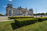 Frontal View of Reichstag Building in a Summer Day with Blue Sky