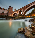 Fabricius Bridge and Tiber Island at Twilight, Rome, Italy