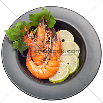 Grilled shrimp on plate isolated