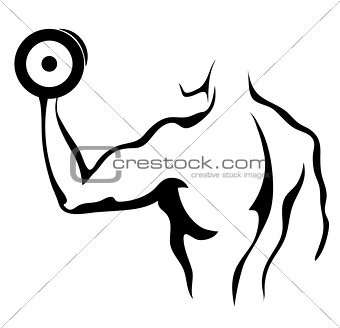 Sketch of man with dumbbell