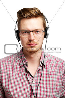 Listening to the music with headphones