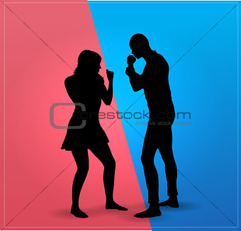 Couple argue fight  : boxing