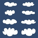 White clouds on blue sky background vector illustration set