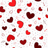 Seamless background with red hearts