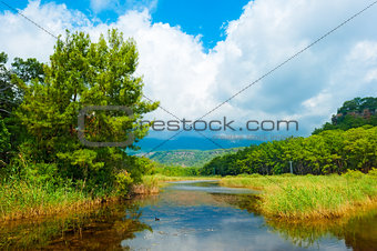 beautiful summer landscape and clouds