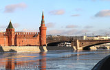 river landscape with the Moscow Kremlin towers