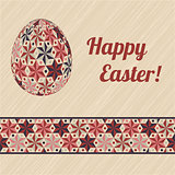 Easter card with eggs and banner.