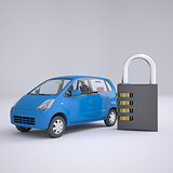 Blue small car and combination lock