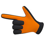 Black and orange gloves. Forefinger shows