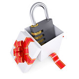Combination lock in a gift box