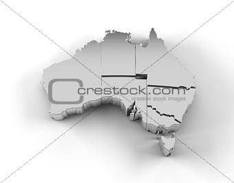 Australia map 3D silver with states stepwise and clipping path