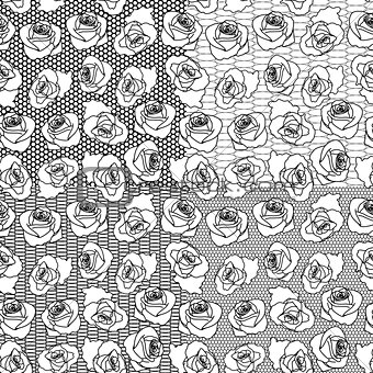 Four vector seamless rose patterns on separate layers