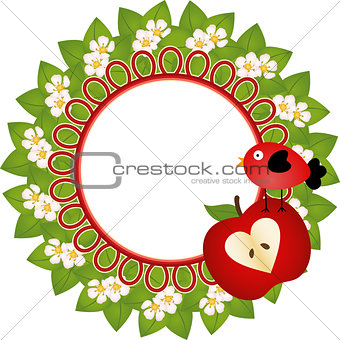 Frame with Flowers of Apple Tree and Bird