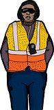 Isolated Worker in Safety Vest