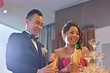 Wedding reception champagne toasting
