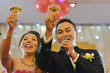 Wedding party champagne toasting