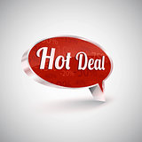 Hot deals vector icon, shiny metallic speech balloon