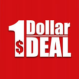 Dollar deal poster on a red background