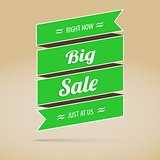 Big sale poster, green, promotional tape
