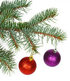 Red and violet balls on the Christmas tree