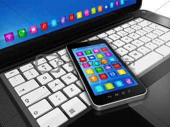 Smartphone on Laptop