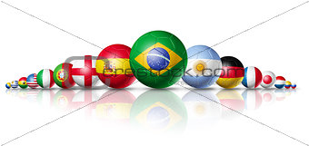 Brazil 2014, soccer football balls group with teams flags