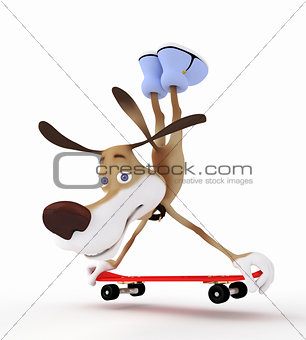 3d dog on a skateboard.
