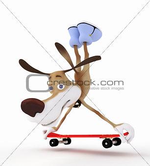3d dog on a skateboard.