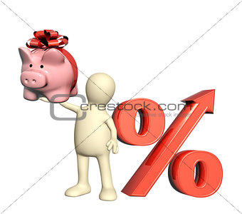 3d puppet with piggy bank and percent symbol