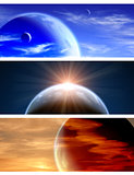 Set of banners with beautiful space scenes