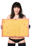 Surprised brunette taking vintage yellow board