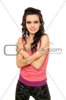 Portrait of joyful young brunette. Isolated
