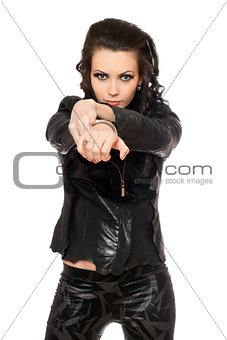 Portrait of pretty woman in black clothes