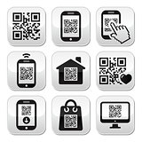 QR code on mobile or cell phone buttons set