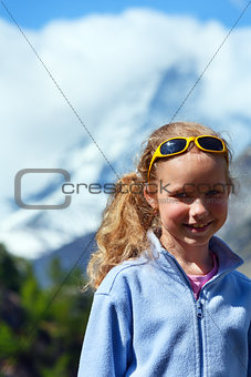 Girl and summer Matterhorh mountain, Alps