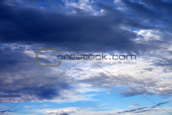 Cloudy sky in summer evening