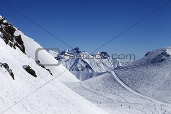 Top view on ski slope at nice sun day