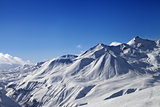 View on ski slope and beautiful mountains at sunny day