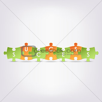 Abstract colored group puzzle success background