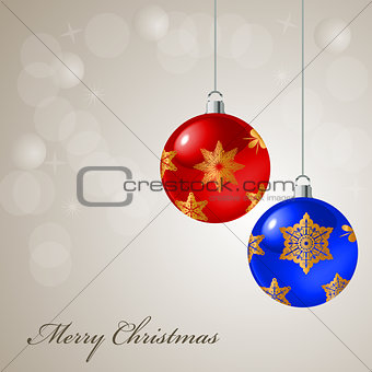 Christmas card with colored balls