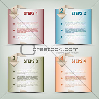 Modern origami colored steps background