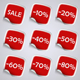 Set of red rectangle sale stickers
