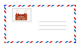 white envelope with postage stamp vector