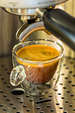 strong espresso in a translucent glass cup